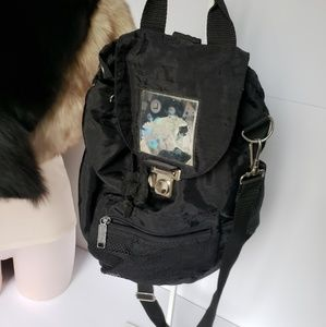 Convertible 80s black crossbody backpack hologram